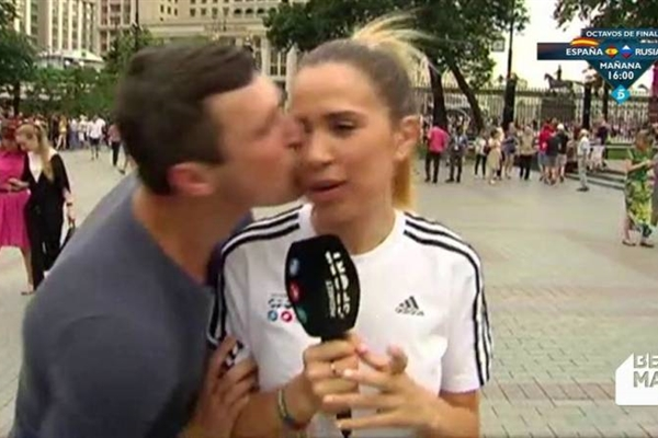 Maria Gomez covered the World Cup for Mediaset and was kissed on air.