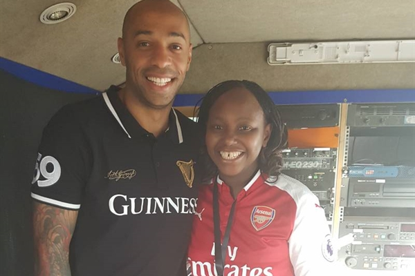 Radull during her interview with Arsenal legend Thierry Henry