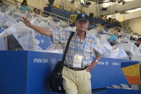 Peter Frei at the Olympic Stadium in Athens, Greece in 2004. (Photo by Peter Frei)