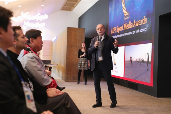 Gianni Merlo speaks during the AIPS Sports Media Award at Casa Italia (Photo by Andreas Rentz/Getty Images)